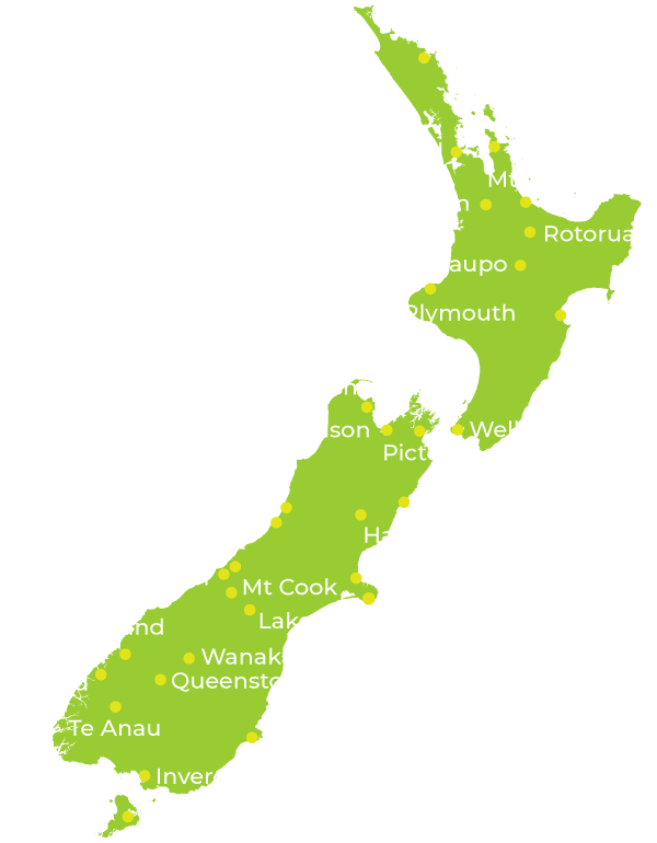 NZ Travel Organiser New Zealand Map
