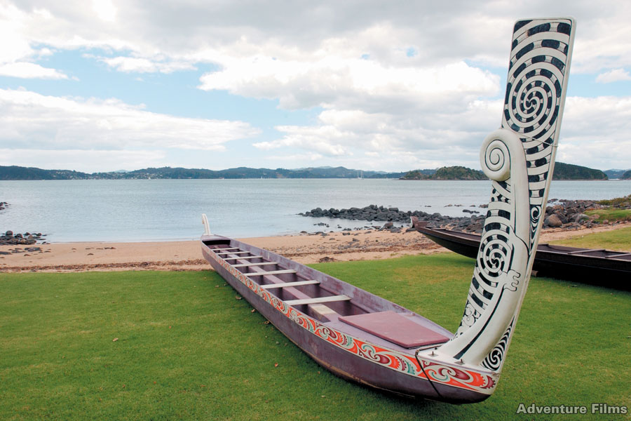 The waka Ngatokimatawhaorua Waitangi in the Bay of Islands