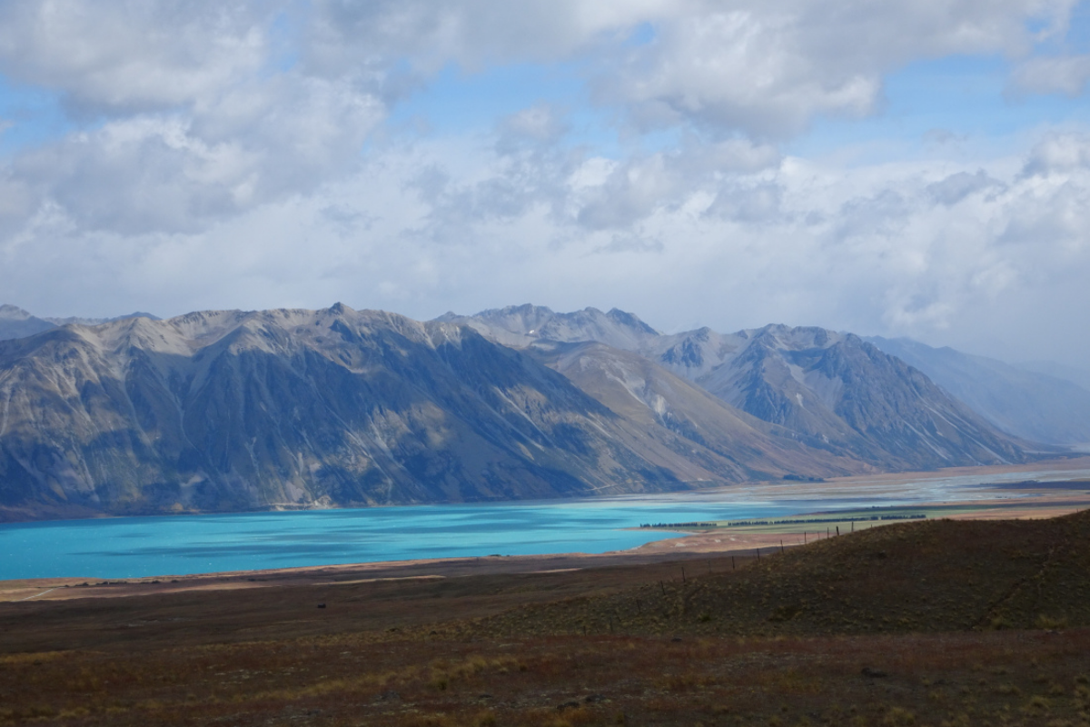 Looking over Lake Tekapo and the Southern Alps while hiking the Two Thumbs Track